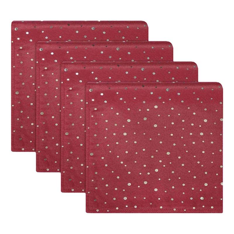 Set of 4 Red & Gold Dot Napkins