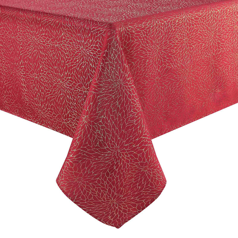 Red Poinsettia Embroidered Table Cloth, 60 x 84