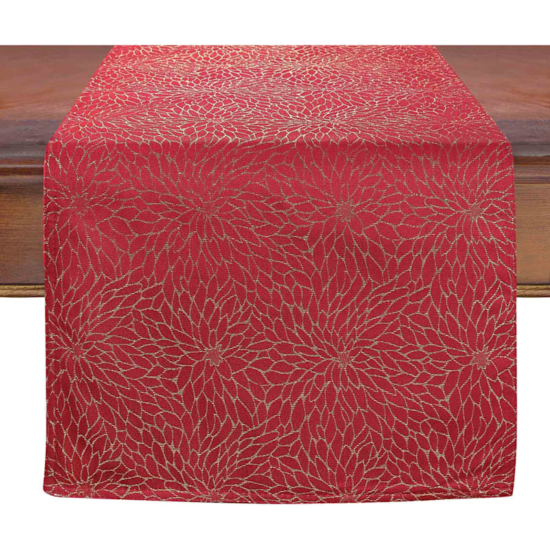 """Red Poinsettia Embroidered Runner, 72"""""""