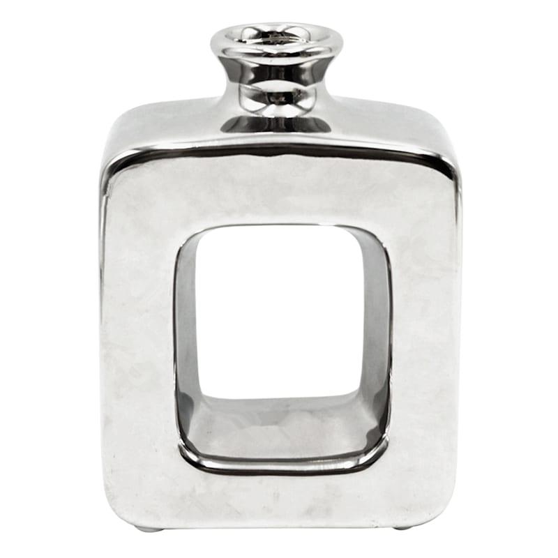 """Silver Ceramic Open Vase, 6"""""""