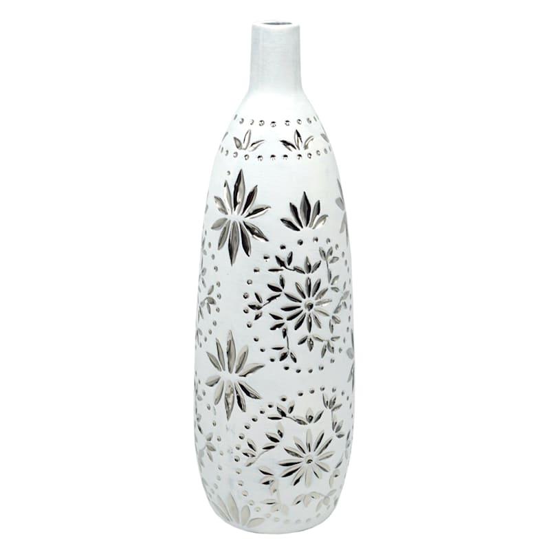 "White Ceramic Vase with Silver Floral Design, 16.7"""