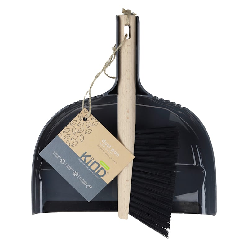 DUST PAN WITH WOOD BRSH GRY