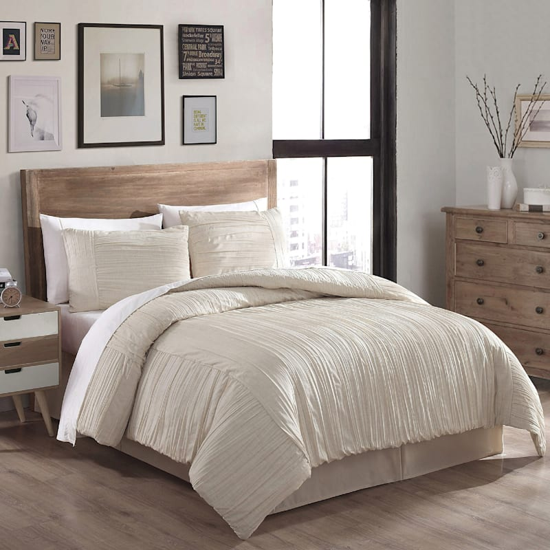 Tan 3-Piece Crush Linen Comforter Set King