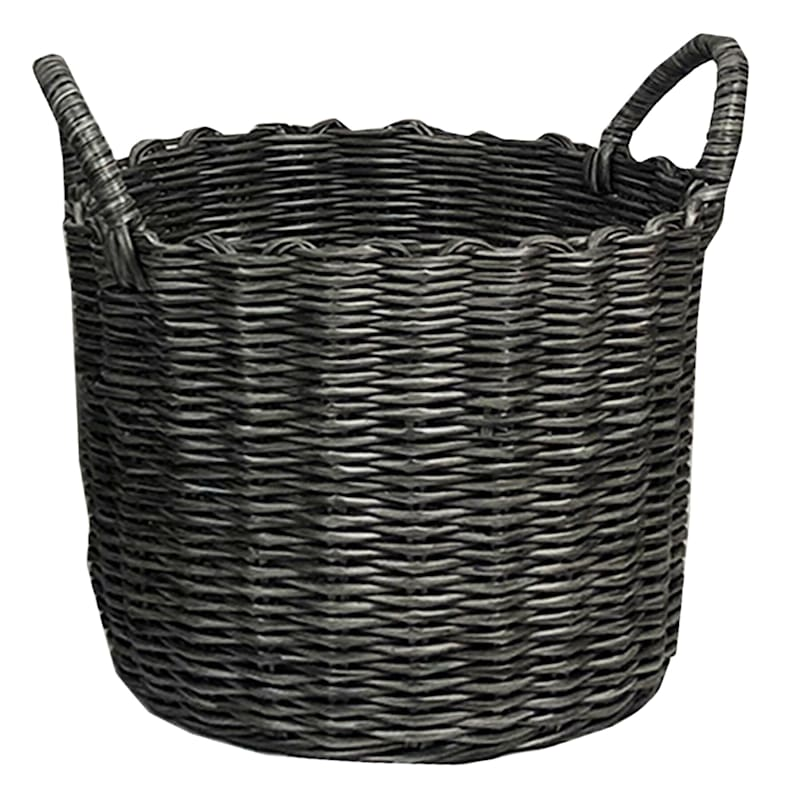 ROUND PP WV BASKET GRY S