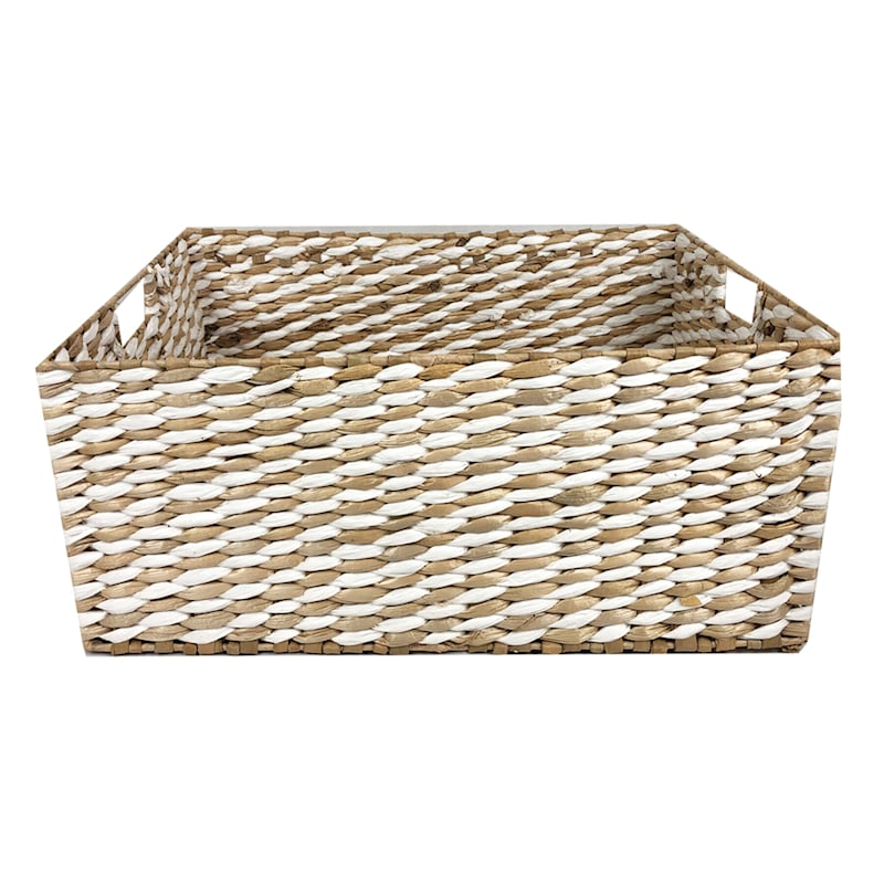 Large Natural/White Cattail Storage Basket