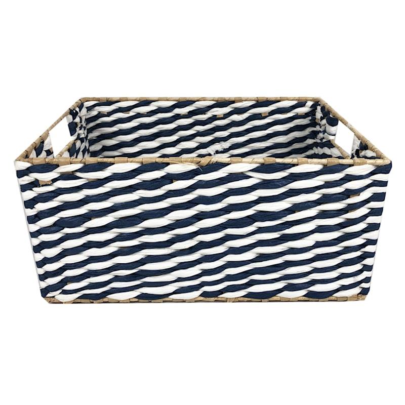 Small Blue/Natural Cattail Storage Basket