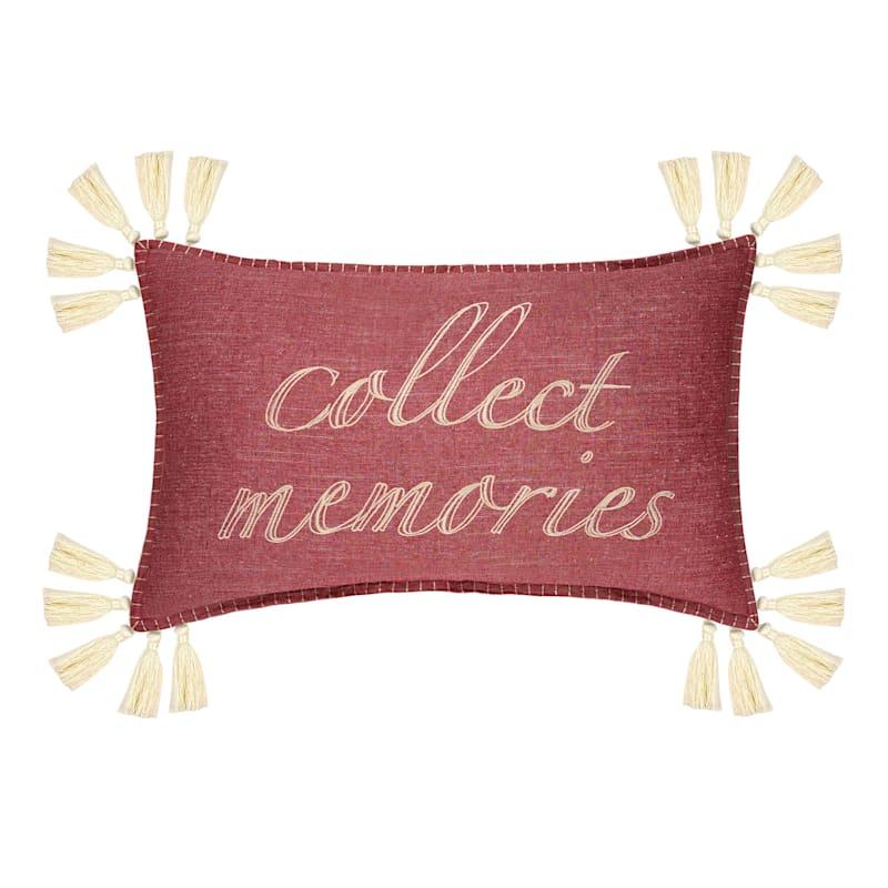"""""""Collect Memories"""" Pink Throw Pillow"""