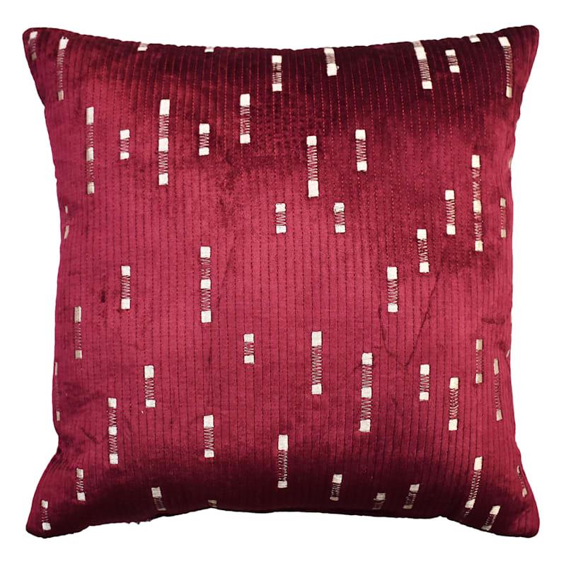 Burgundy Dashed Velvet Embroidered Pillow 18X18
