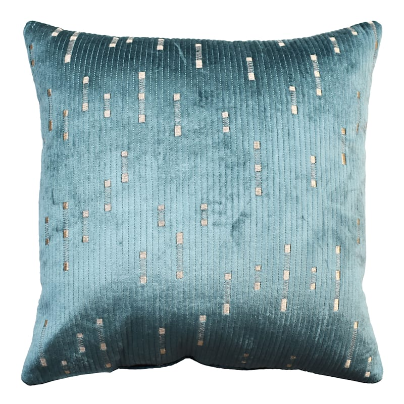 Teal Dashed Velvet Embroidered Pillow 18X18