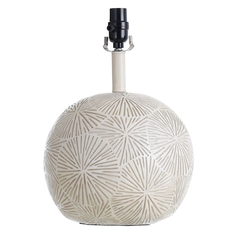 White Embossed Round Wooden Lamp