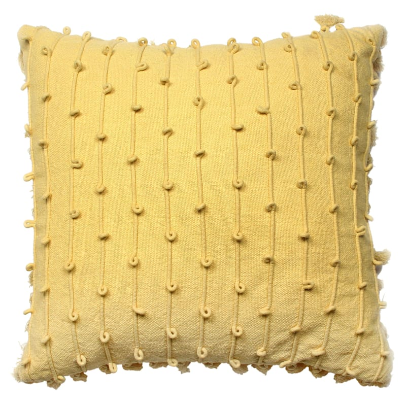 Woven Cotton Pillow With Cord Embroidery And Tassels 20X20