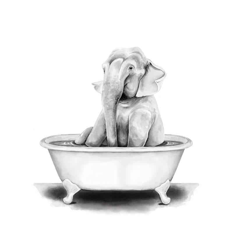 12X16 Elephant In Bath Tub Canvas Wall Art