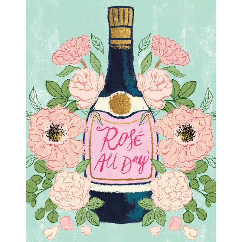 12X16 Rose All Day Floral Champagne Bottle Canvas Wall Art