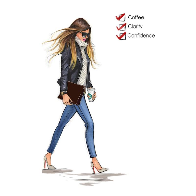 12X16 Fashionista Coffee Clarity Confidence Canvas Wall Art