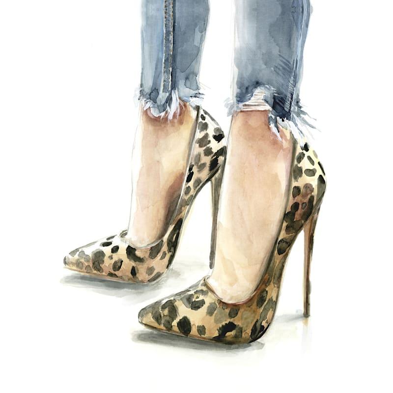 12X16 Leopard Print Heels Torn Jeans Canvas Wall Art