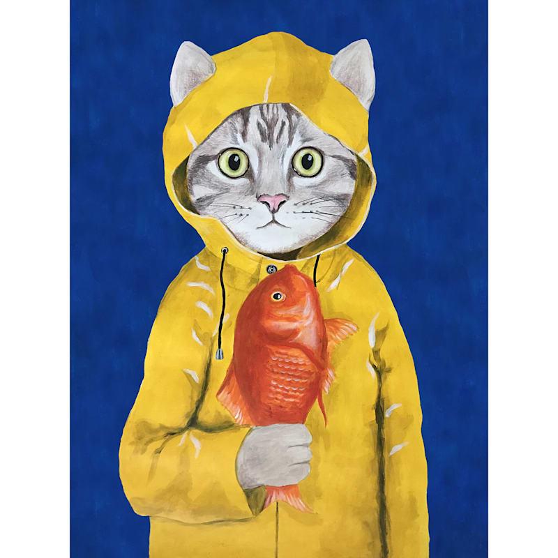 12X16 Cat In Fisherman Jacket Canvas Wall Art