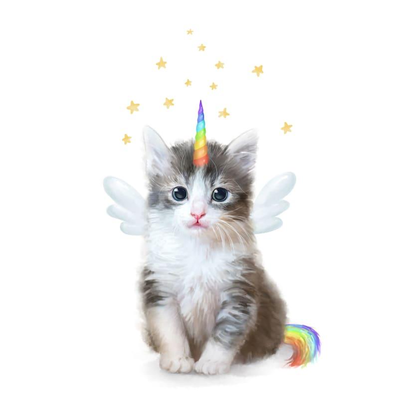 12X16 Kitten Unicorn Rainbow Canvas With Foil Wall Art