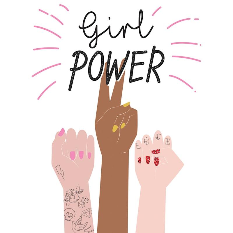12X16 Girl Power Hands Raised Canvas Wall Art