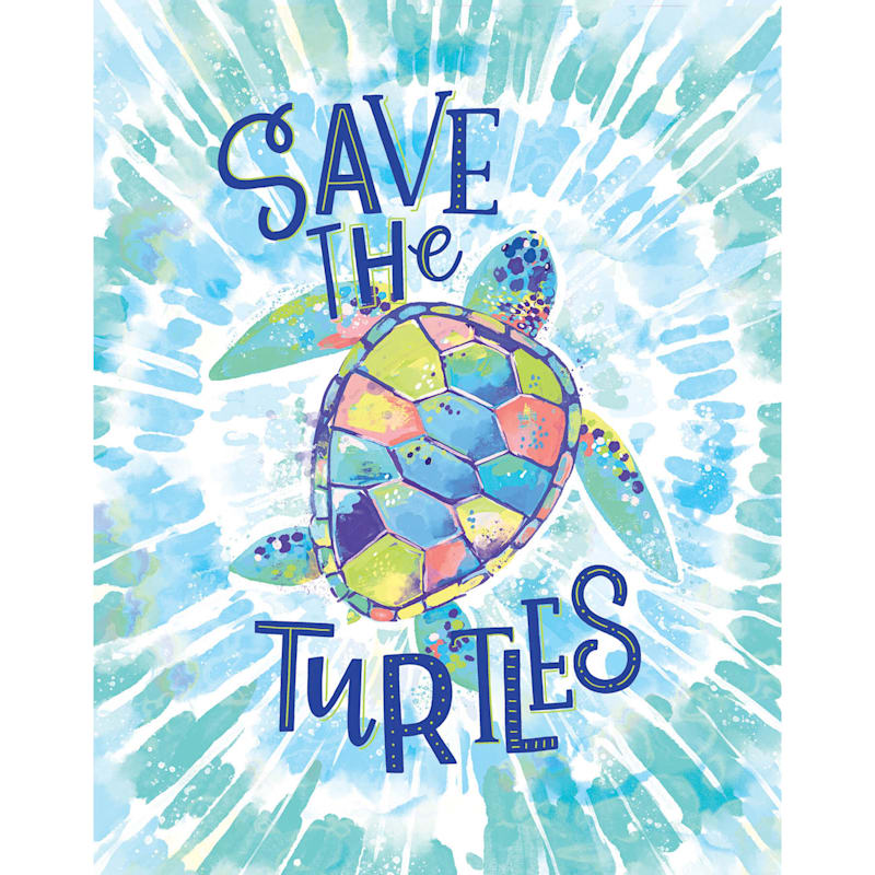 12X16 Save The Turtles Tie Dye Canvas Wall Art
