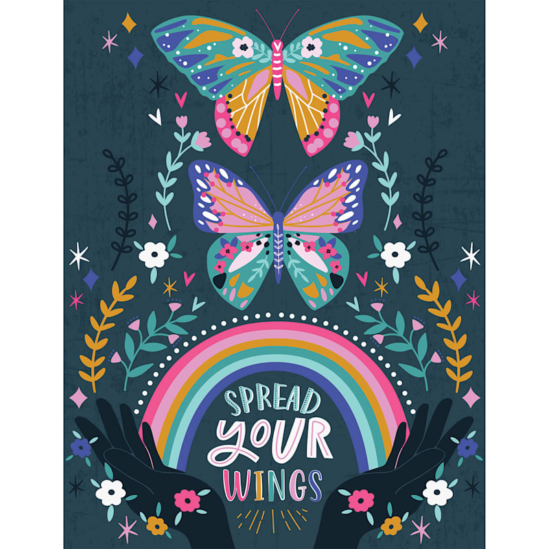 12X16 Spread Your Wings Butterfly Rainbow Canvas Wall Art