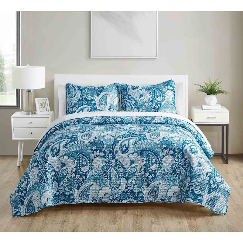 Bree Blue 3-Piece Printed Reverse To Sherpa Quilt Set King