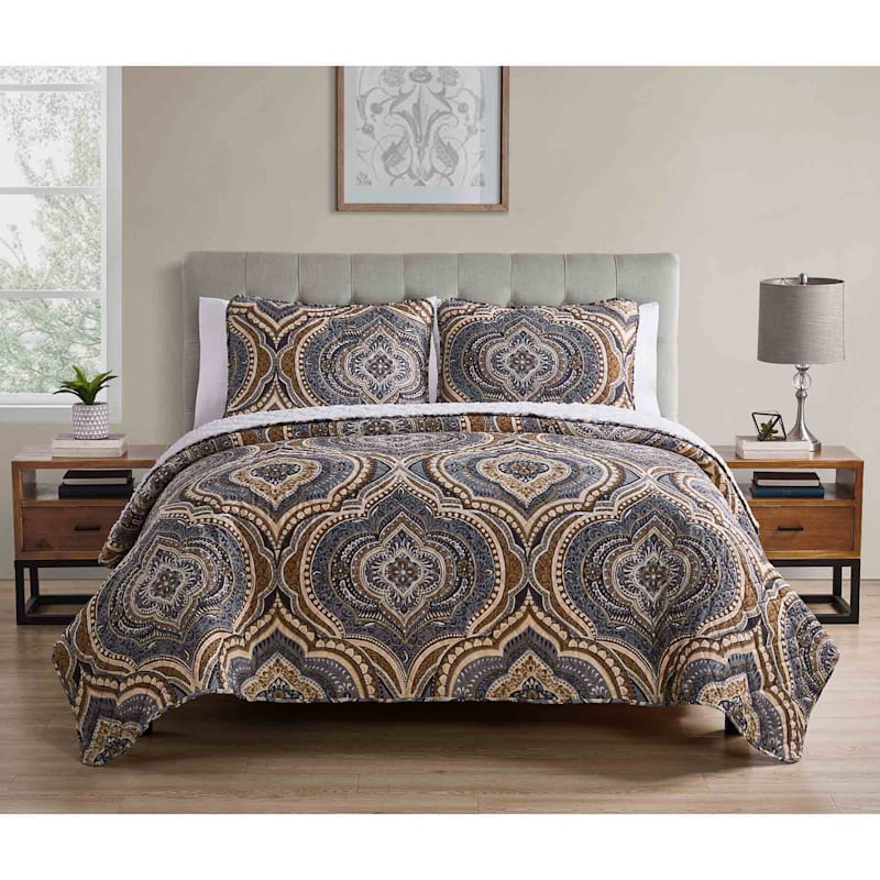 Cori 3-Piece Printed Reverse To Sherpa Quilt Set Queen