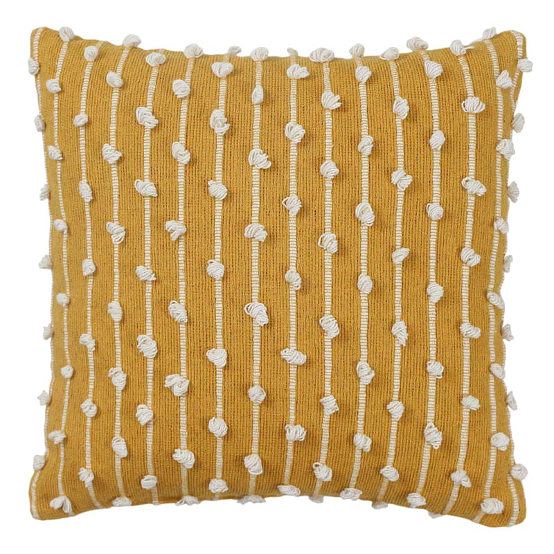 Yellow Embroidered Stripe Loop Pillow 18X18
