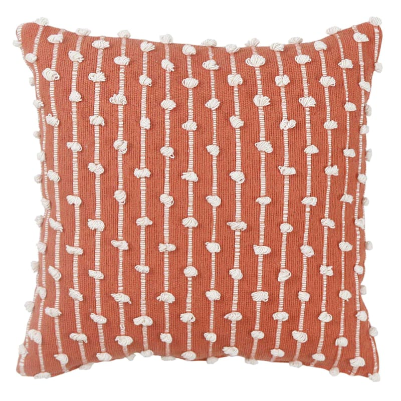Coral Embroidered Stripe Loop Pillow 18X18