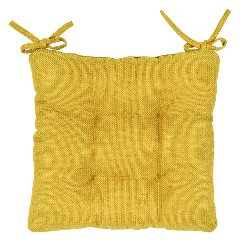 Clayton Chair Pad Polyester Woven Textured Yellow