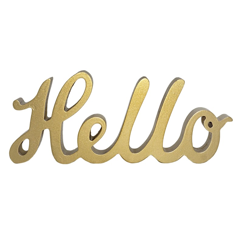10X4 Gold Faux Wood Hello Sign