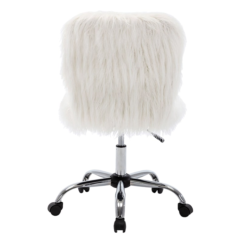 White Faux Fur Adjustable Office Chair