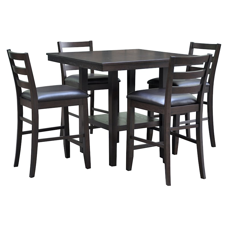Thomas Wood Counter Height Dining Set with 4 Chairs, 40""