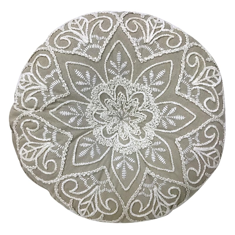 """Embroidered Round Throw Pillow, 14"""""""