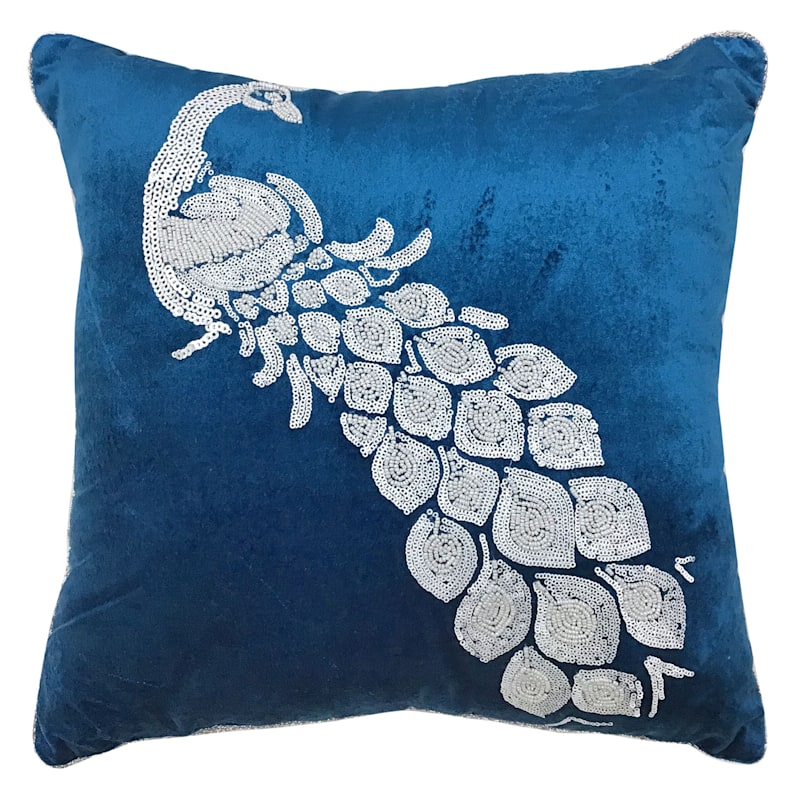 """Blue Peacock Throw Pillow, 18"""" square"""