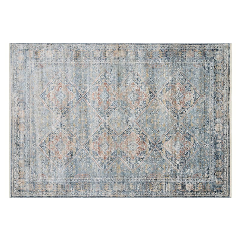 (B652) Genevieve Distress Look Red & Blue Area Rug, 5x8