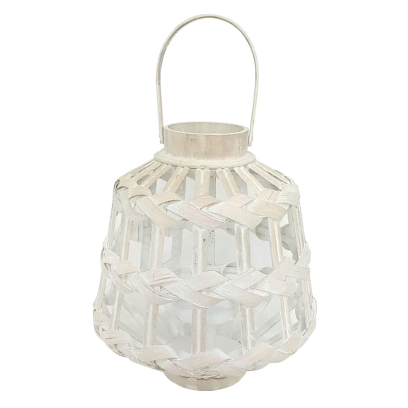 12X13IN WHITE BAMBOO LANTERN