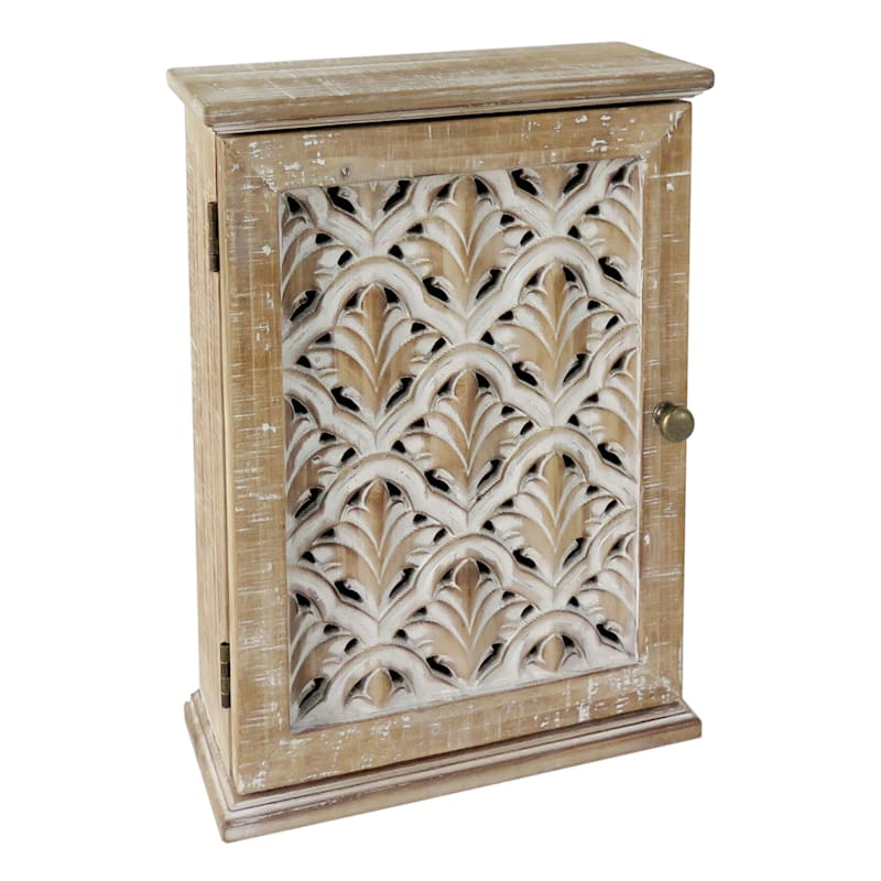 Carved Wooden Mini Cabinet, 13""
