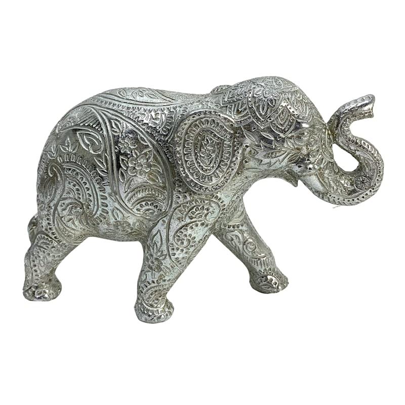 "Silver Resin Elephant, 7"""