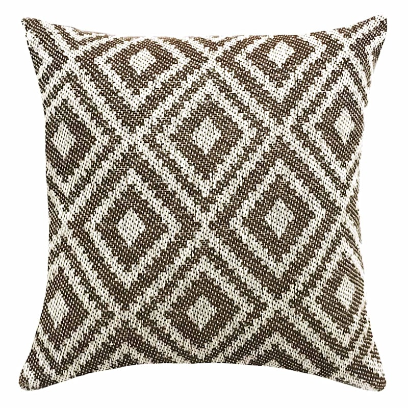 Jewel Brown Woven Cotton Pillow 18X18