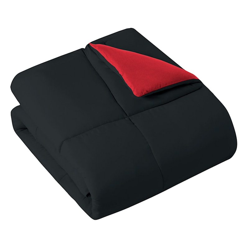 Down-Alternative Comforter, King, Black/Red