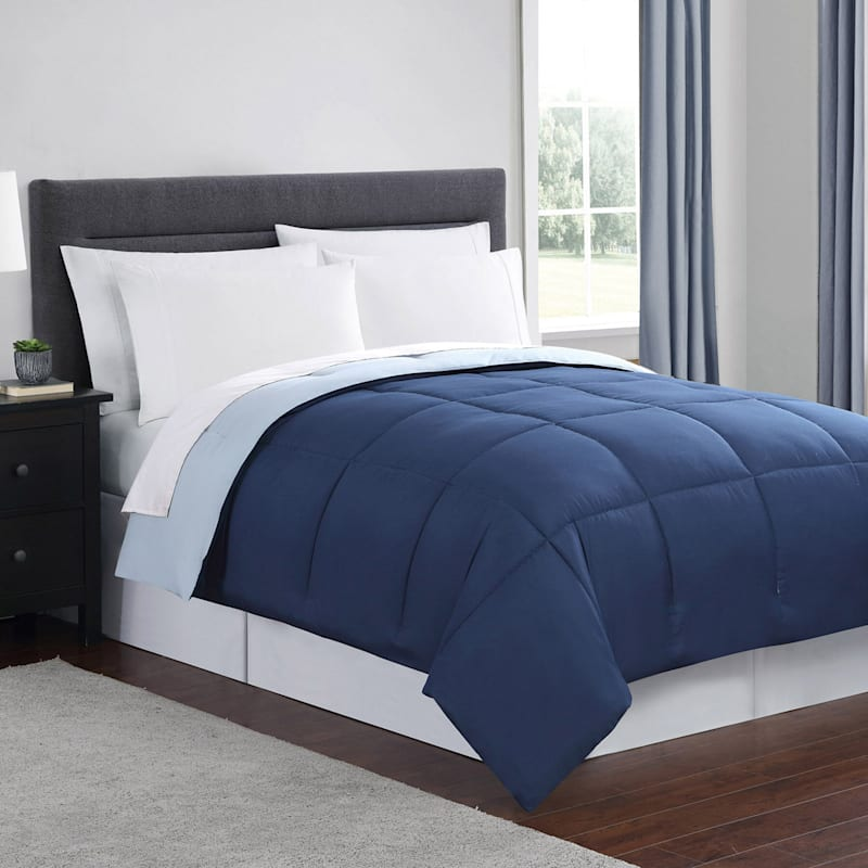 Down-Alternative Comforter, Full/Queen, Navy Blue