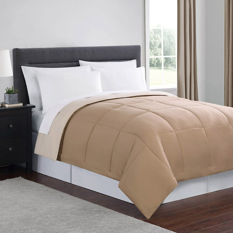 Down-Alternative Comforter, Full/Queen, Tan/Ivory