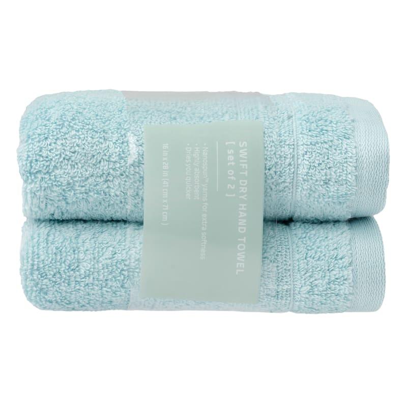 Quick-Dry 2-Pk. Hand Towels, Aqua