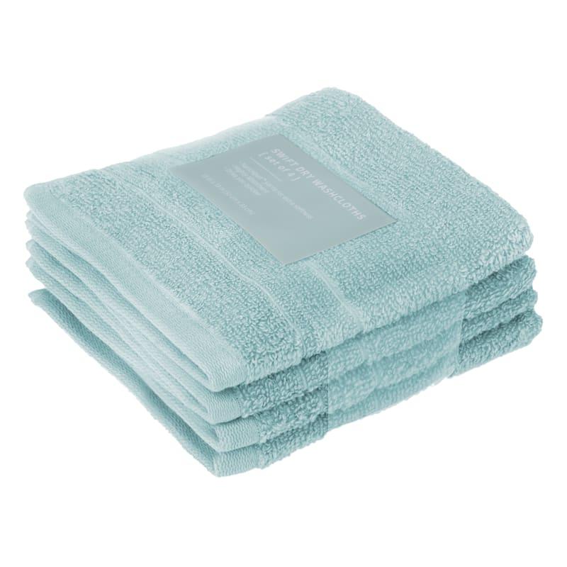 Quick-Dry 4-Pk. Washcloths, Aqua