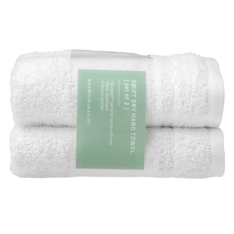 Quick-Dry 2-Pk. Hand Towels, White