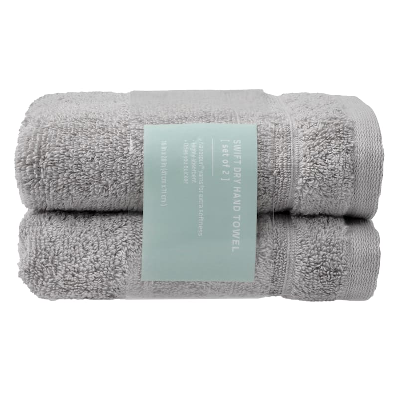Quick-Dry 2-Pk. Hand Towels, Gray