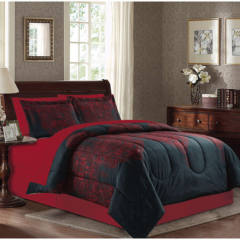 Farah Damask 6-Piece Bed-in-a-Bag Set, Queen