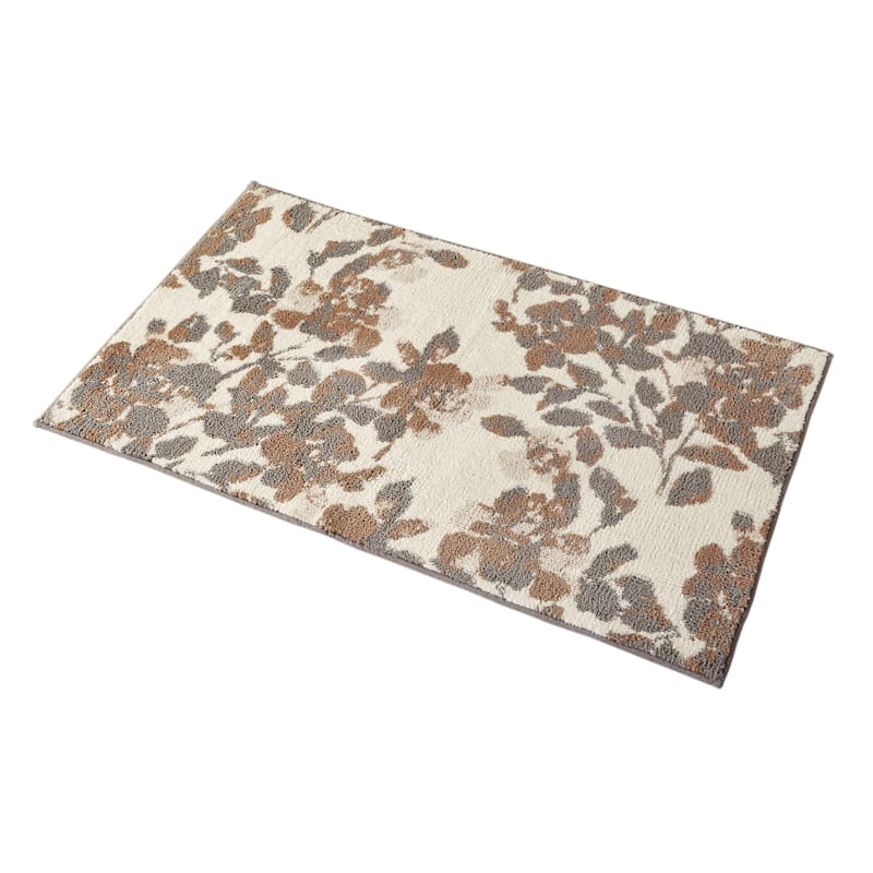Floral Micro Polyester Blush Grey Accent Rug 2x4 At Home