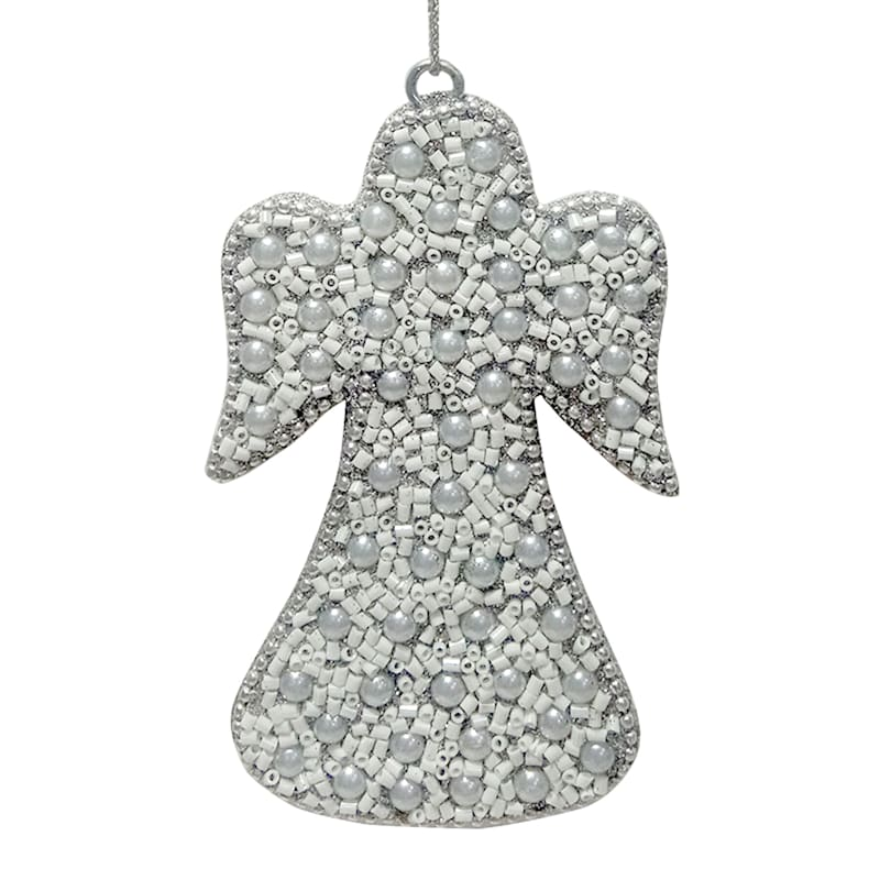 Silver Beaded Angel Ornament