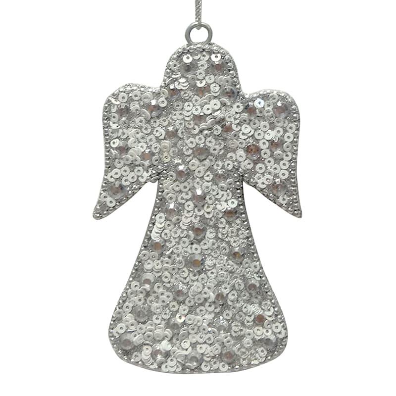 Silver Sequin Angel Ornament